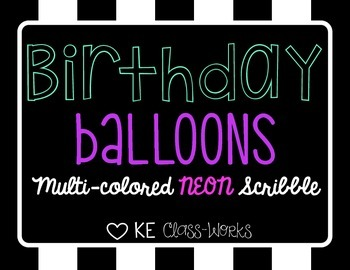 Birthday Balloons - Neon Scribble