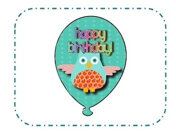 Birthday Balloons Owl Theme