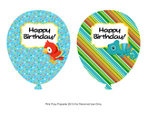 Birthday Balloons  Rain Forest Animals (4 different designs)
