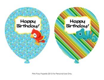 Birthday Balloons  Rain Forest Animals (4 different designs)