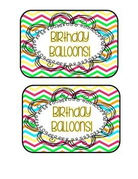 Birthday Balloons - Rainbow Chevron