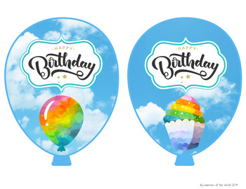 Birthday Balloons - Rainbow Clouds in the Sky Theme
