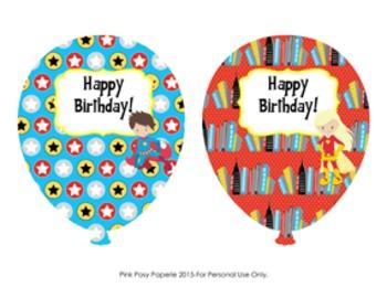 Birthday Balloons  Superhero Theme (4 different designs)