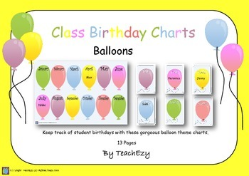 Birthday Balloons for Classroom