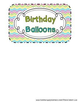 Birthday Balloons with Chevron Theme