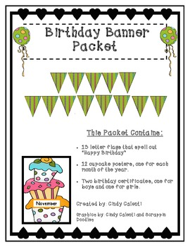 Birthday Banner, Birthday Month Posters, Birthday Certificates