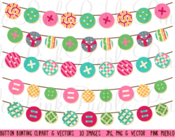 Birthday Banner Button Bunting Flag Clipart Clip Art