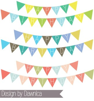 Birthday Banner Clipart - banners, bunting