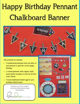 Birthday Banner Pennant Chalkboard