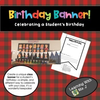 birthday banner printable by learning with ms j tpt
