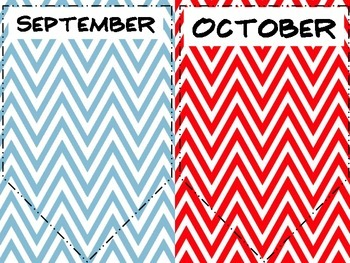 Birthday Banner in red and light blue chevron