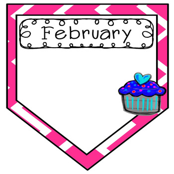 Birthday Banners, 12 Editable Monthly Banners with Chevron and Cupcakes
