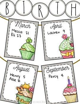 Birthday Banners, 12 Editable Monthly Farmhouse Inspired Cupcakes and Banner