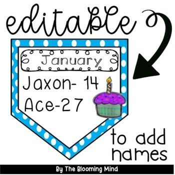 Birthday Bulletin Board {Editable Polka Dot Banner}