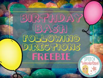 Birthday Bash Following Directions Freebie
