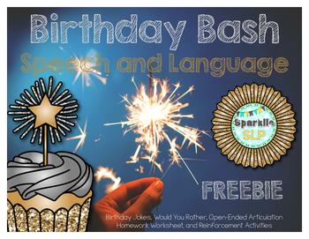 Birthday Bash Speech and Language FREEBIE