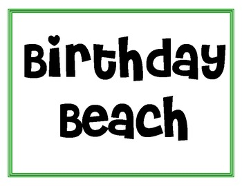 """Birthday Beach"" Month Labels"