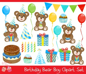 Birthday Bear Clipart Set
