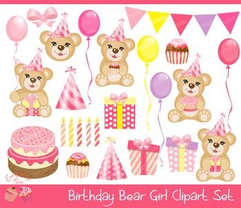 Birthday Bear Girl Clipart Set