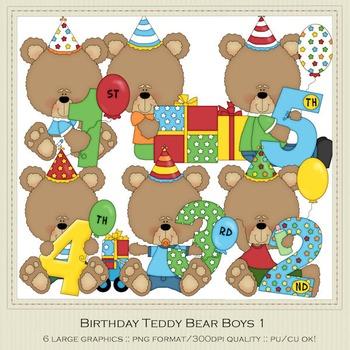 Birthday Bears Boys Clip Art Graphics by Alice Smith