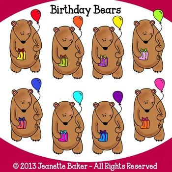 Birthday Bears Clip Art by Jeanette Baker