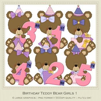 Birthday Bears Girls Clip Art Graphics by Alice Smith