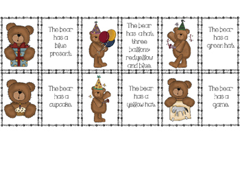 Birthday Bears Activities for Elementary ELL - Free