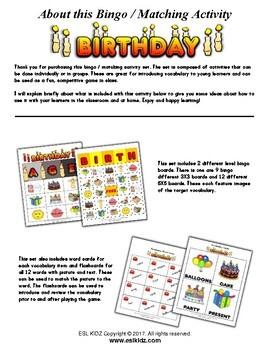 Birthday Bingo / Matching Activities