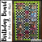 Birthday Board - Bright Polka Dots on Black