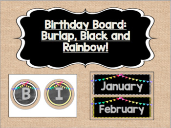 Birthday Board - Burlap, Black, and Rainbow! {With Bunting!}