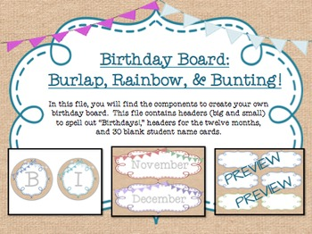 Birthday Board - Burlap and Rainbow with BUNTING!