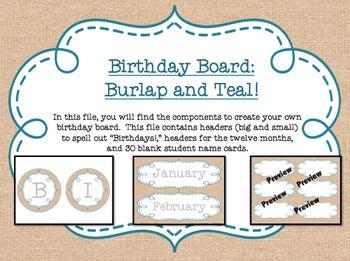 Birthday Board - Burlap and Teal