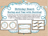 Birthday Board - Burlap and Teal with BUNTING!