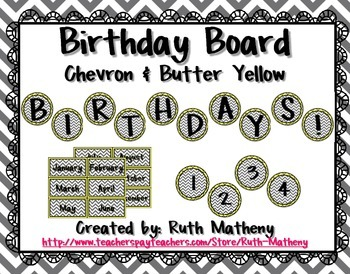 Birthday Board - Chevron & Butter Yellow