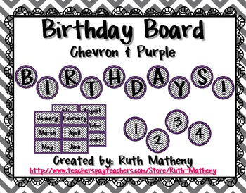Birthday Board - Chevron & Purple