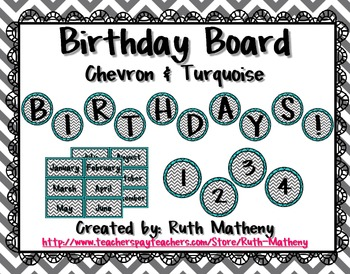 Birthday Board - Chevron & Turquoise
