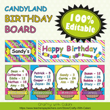 Birthday Board Classrom Decoration in Candy Land Theme - 100% Editble