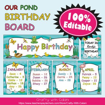 Birthday Board Classrom Decoration in Our Pond Theme - 100% Editable