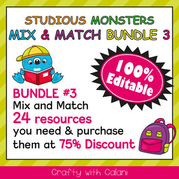 Birthday Board Classrom Decoration in Studious Monsters Theme - 100% Editable
