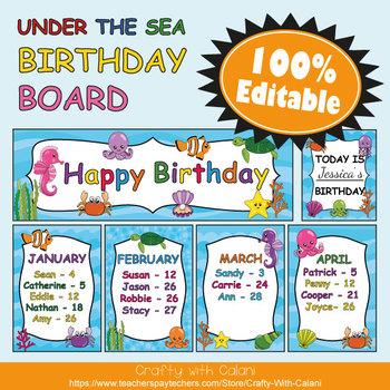 Birthday Board Classrom Decoration in Under The Sea Theme - 100% Editable