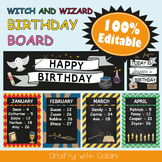 Birthday Board Classrom Decoration in Witch & Wizard Theme - 100% Editable