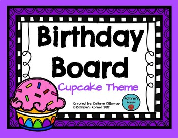 Birthday Board- Cupcake Theme
