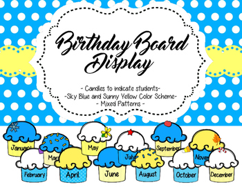 Birthday Board Display - Sky Blue and Sunny Yellow Color Scheme