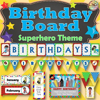 Birthday Board - Bulletin Board Display - Superhero Themed
