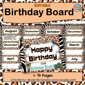 Birthday Board {Jungle Safari Theme}