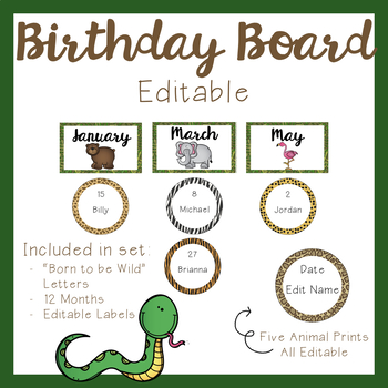 Birthday Board - Jungle Theme
