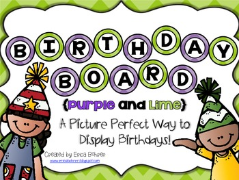 Birthday Board - Lime and Purple