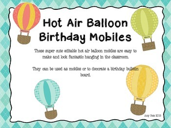 Birthday Board / Mobile - Hot AIr Balloon Theme