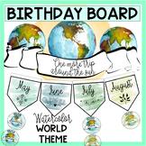 Birthday Board - Watercolor World Travel Theme