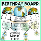 Birthday Board - Watercolor World Travel Theme
